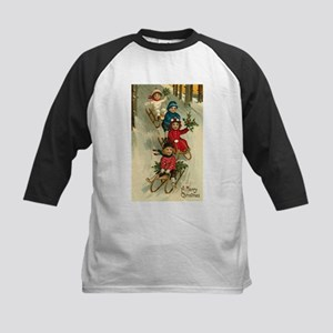 Christmas Kids Sledding Baseball Jersey