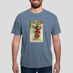Christmas Kids Sledding Mens Comfort Colors Shirt