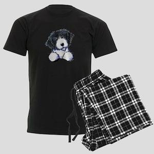 Pocket Bearded Collie Men's Dark Pajamas