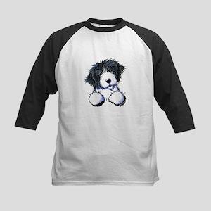 Pocket Bearded Collie Kids Baseball Jersey