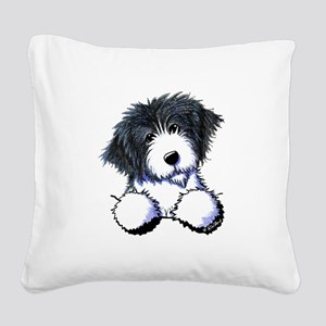 Pocket Bearded Collie Square Canvas Pillow