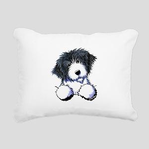 Pocket Bearded Collie Rectangular Canvas Pillow