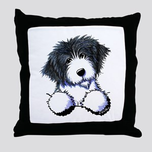 Pocket Bearded Collie Throw Pillow