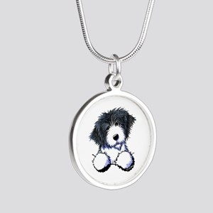 Pocket Bearded Collie Silver Round Necklace