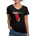 Flaming Firecracker Flowers Women's V-Neck Dark T-