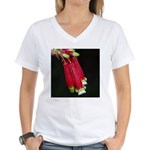 Flaming Firecracker Flowers Women's V-Neck T-Shirt
