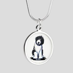Corgi w/ Flower Silver Round Necklace