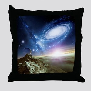 Colliding galaxies, artwork - Throw Pillow