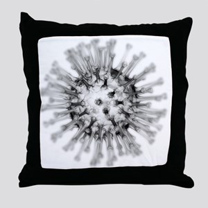 H1N1 flu virus particle, artwork - Throw Pillow