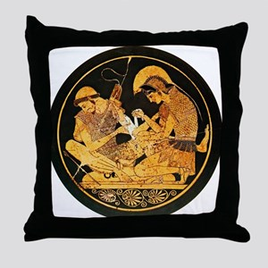 Achilles binding Patroclus' wound - Throw Pillow
