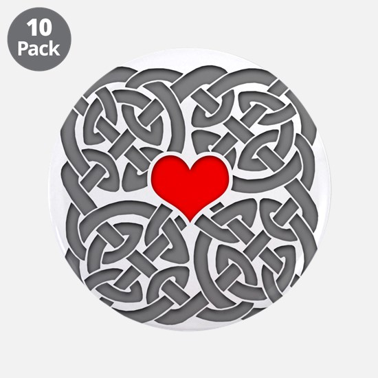 """Celtic Knot Heart 3.5"""" Button (10 pack)"""