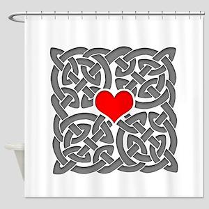 Celtic Knot Heart Shower Curtain