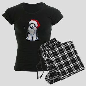 Bearded Collie Santa Women's Dark Pajamas