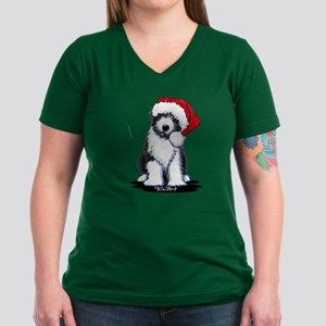 Bearded Collie Santa Women's V-Neck Dark T-Shirt
