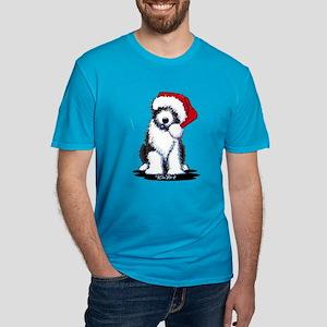 Bearded Collie Santa Men's Fitted T-Shirt (dark)