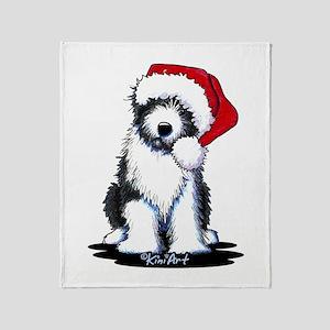 Bearded Collie Santa Throw Blanket