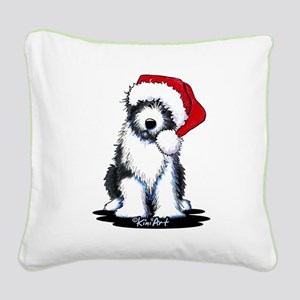 Bearded Collie Santa Square Canvas Pillow