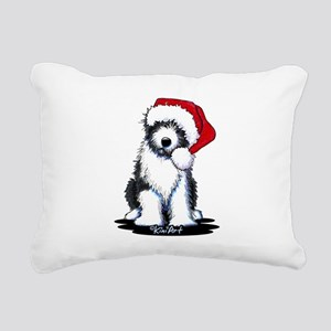 Bearded Collie Santa Rectangular Canvas Pillow
