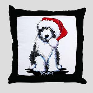 Bearded Collie Santa Throw Pillow