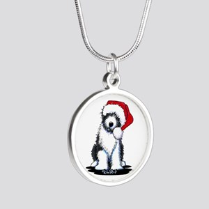 Bearded Collie Santa Silver Round Necklace