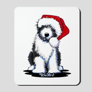 Bearded Collie Santa Mousepad