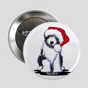 """Bearded Collie Santa 2.25"""" Button"""