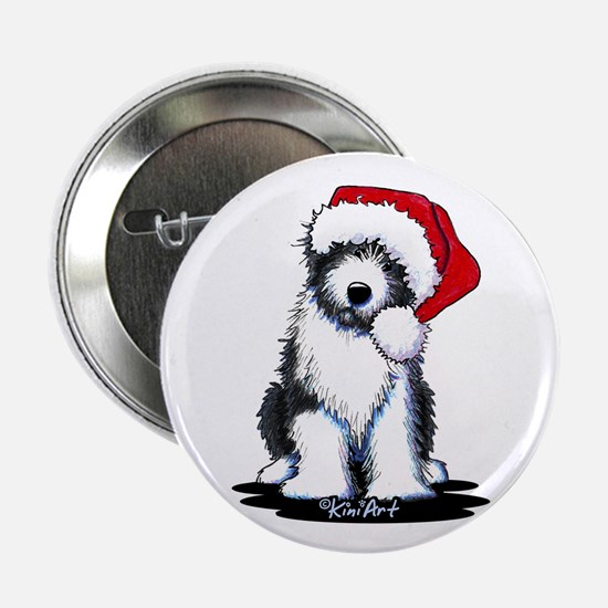 "Bearded Collie Santa 2.25"" Button"