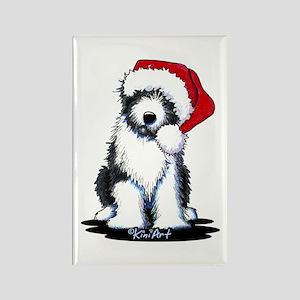 Bearded Collie Santa Rectangle Magnet
