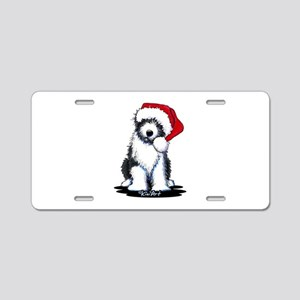 Bearded Collie Santa Aluminum License Plate