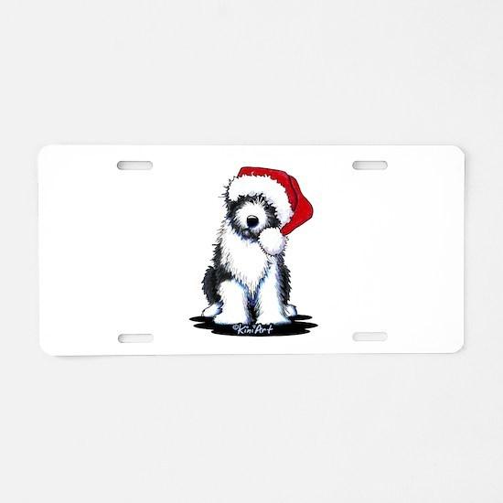 Bearded Collie Santa Aluminum License Plate