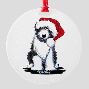 Bearded Collie Santa Round Ornament