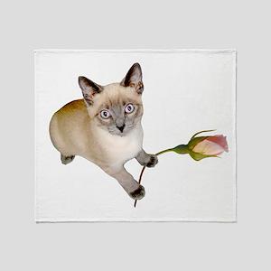Kitten Rosebud Throw Blanket