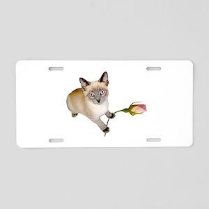 Kitten Rosebud Aluminum License Plate