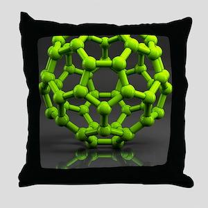 Buckyball molecule C60, artwork - Throw Pillow