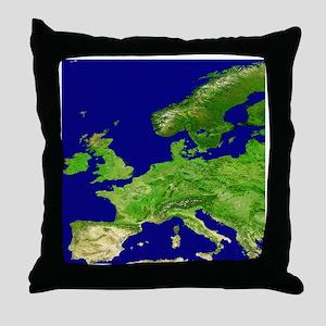 Europe, satellite image - Throw Pillow