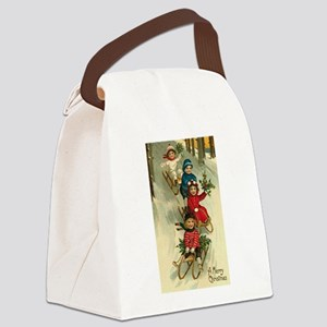Christmas Kids Sledding Canvas Lunch Bag