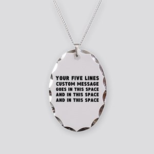 Five Lines Text Customized Necklace Oval Charm