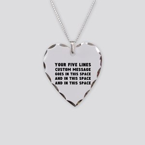 Five Lines Text Customized Necklace Heart Charm