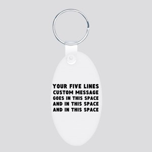Five Lines Text Customized Aluminum Oval Keychain