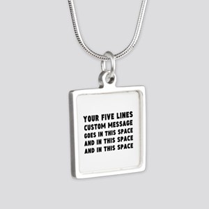 Five Lines Text Customized Silver Square Necklace