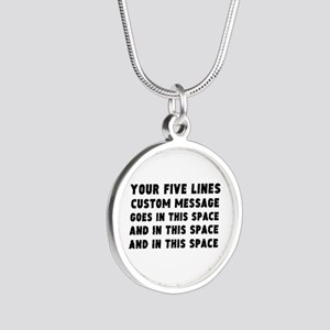 Five Lines Text Customized Silver Round Necklace