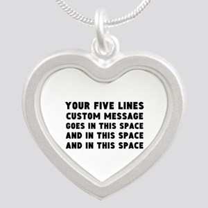 Five Lines Text Customized Silver Heart Necklace