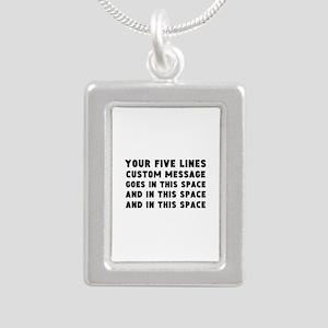 Five Lines Text Customiz Silver Portrait Necklace