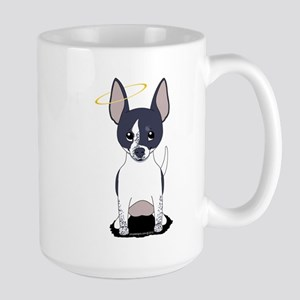 Black White Chihuahua Angel Large Mug