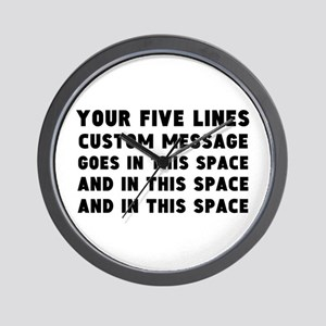Five Lines Text Customized Wall Clock