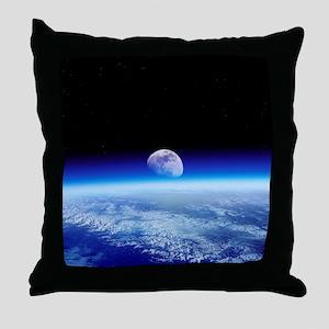 Moon rising over Earth's horizon - Throw Pillow