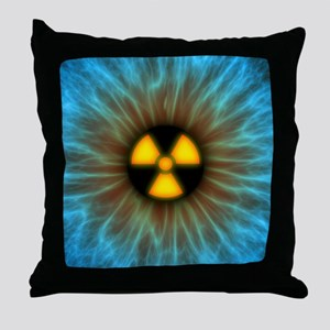 Iris with radiation warning sign - Throw Pillow