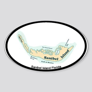 Sanibel Island - Map Design. Sticker (Oval)