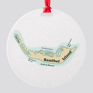 Sanibel Island - Map Design. Round Ornament