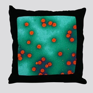 Human papillomavirus particles, TEM - Throw Pillow